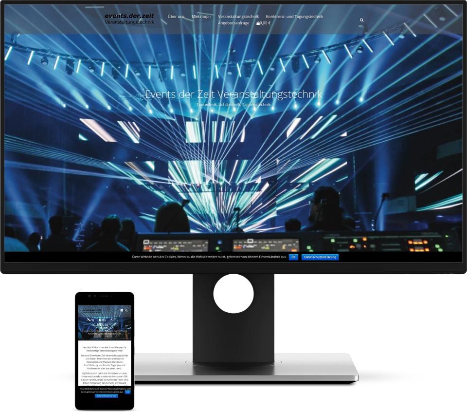 Webdesign Harz Events der Zeit Veranstaltungstechnik Shop Verleih Website